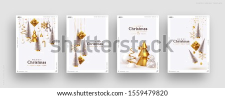 Christmas set of backgrounds, greeting cards, web posters, holiday covers. Design with realistic New Year's eve, Christmas trees and gifts box. Xmas templates party banner. Festive composition #1559479820