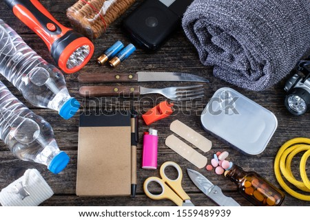 Emergency bag for earthquake , Preparation for natural disasters concept #1559489939