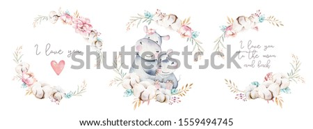 Watercolor cute cartoon illustration with cute mommy hippo and baby, flower leaves. Mother and baby illustration design. Tropical mom and kid drawing