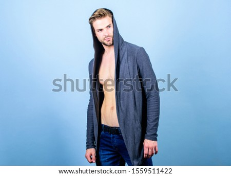 Brute masculinity extremely commanding looking conventionally handsome. Masculinity concept. Masculinity and confidence. Man well groomed handsome hooded clothes. Unconventional but masculine look. #1559511422