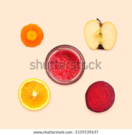 mix fruit juice in the bowl. One pic apple and one pic leman and one pic orange and sugar beets