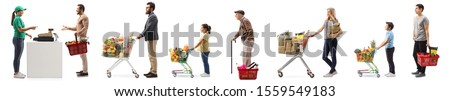 People with shopping carts and baskets waiting in line at the cash register isolated on white background #1559549183