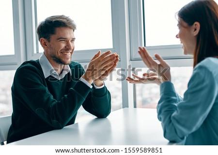 Cheerful man and woman date communication joy #1559589851
