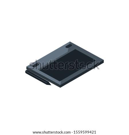design tablet pen digital technology hardware device vector illustration isometric #1559599421
