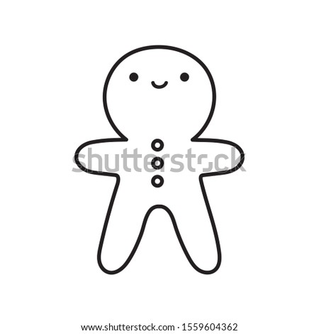 merry christmas celebration gingerbread man biscuit decoration vector illustration thick line #1559604362