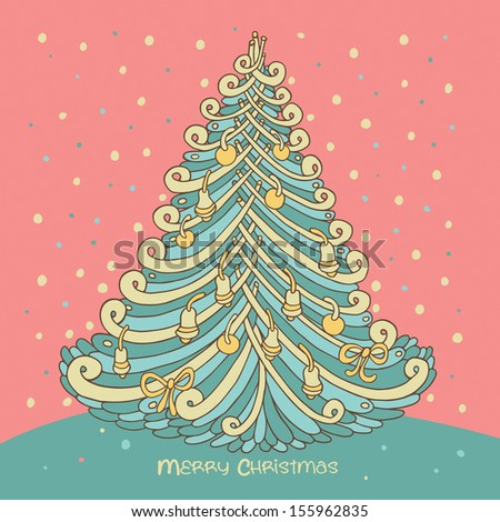 New Year trees. Christmas card. #155962835