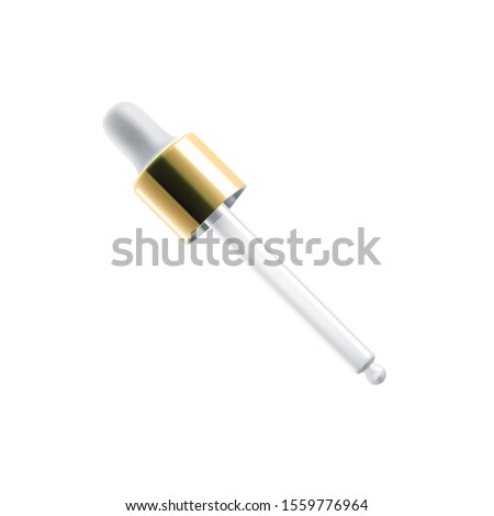 Glass dropper with golden cap, vector 3D realistic mockup. Cosmetic bottle glass dropper with white rubber tip and transparent empty pipette for face skincare moisturizer and collagen serum oil #1559776964
