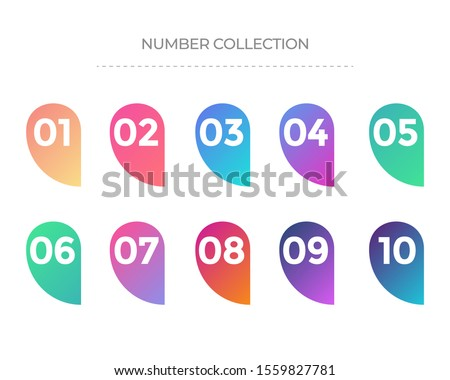 Set of number on a label vector. Number collection. Colorful gradient markers with number from 1 to 10. Modern vector illustration. Royalty-Free Stock Photo #1559827781