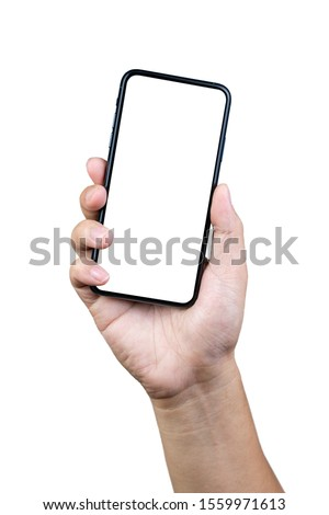 Man hand holding the smartphone full screen with blank screen . isolated on white background. #1559971613