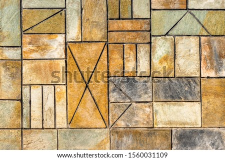 Background. Ornament background. Geometric background. Ancient geometric pavement. Geometric wall background with different forms. #1560031109