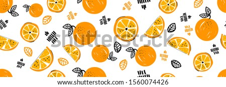 Seamless bright light pattern with Fresh oranges for fabric, drawing labels, print on t-shirt, wallpaper of children's room, fruit background. Slices of orange doodle style cheerful background. #1560074426