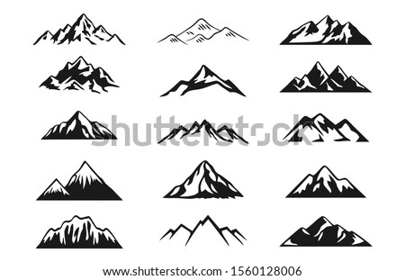 Design a illustrator vector of Mountain Silhouette Clip-art set.