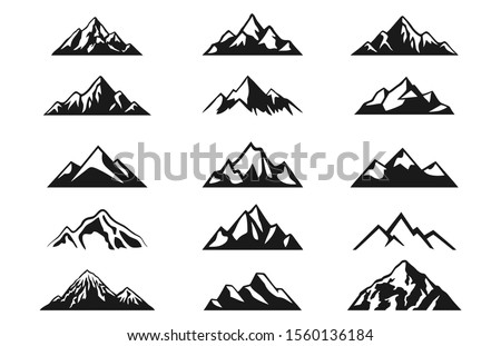 Design a illustrator vector of Mountain Hill Silhouette Clip-art set isolated on white background.
