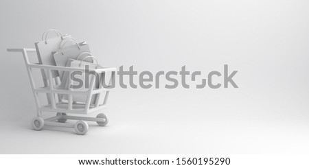 Winter abstract design creative concept, trolley cart, shopping bag on white background. Copy space text area. 3D rendering illustration.