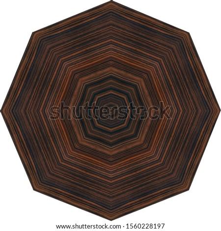 dark brown ebony octagonal table, straight lines grain circular centered pattern
