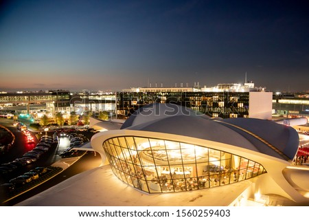 NEW YORK CITY - SEPTEMBER 20, 2019: View of historic TWA Hotel and surrounding area seen from John F. Kennedy Airport in Queens, New York at night #1560259403