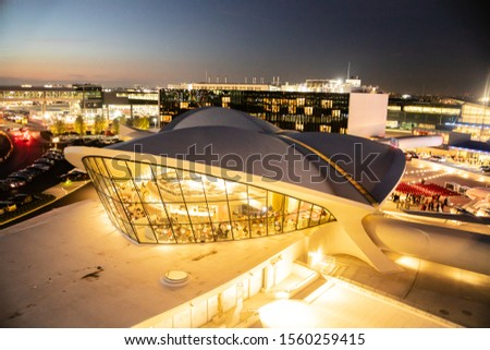 NEW YORK CITY - SEPTEMBER 20, 2019: View of historic TWA Hotel and surrounding area seen from John F. Kennedy Airport in Queens, New York at night #1560259415