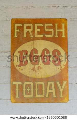 Vintage fresh eggs today sign hanging on a white wall