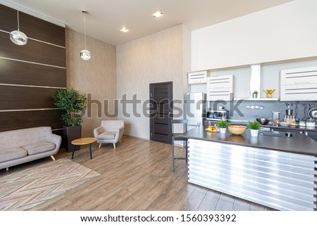Contemporary ordinary design of spacious studio in soft warm colors. Simple furniture. Light large room with sunlight. Daytime. Tiled brown floor and white walls with decorative panel. #1560393392