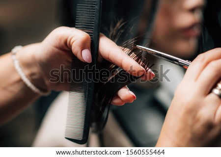 Woman getting a new haircut. Female hairstylist cutting her long black hair with scissors in hair salon Royalty-Free Stock Photo #1560555464