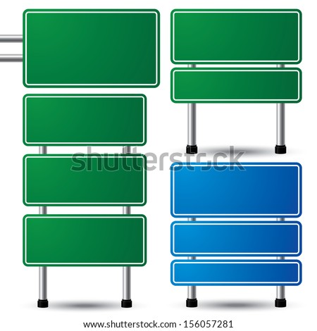 Blank green and blue highway sign set on white background for your message. Vector illustration