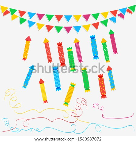 Christmas cracker set, party popper with streamers and carnival garland with flags isolated on white background. Design element for birthday, christmas or new year celebration. Clip art.