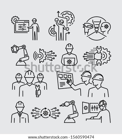 Engineering People Vector Line Icons Set Royalty-Free Stock Photo #1560590474