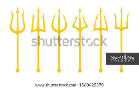 Vector yellow trident set Triton, Neptune, Poseidon. Isolated on white background. #1560625370