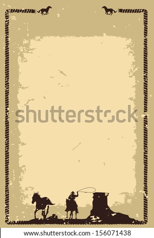 Cowboy chasing wild horse background, vector