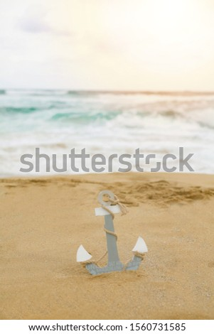 Wide coast and anchor in the sand by the sea. - Picture