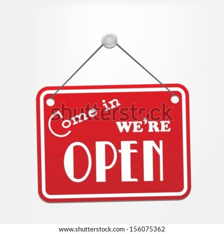 We are Open Red Sign #156075362
