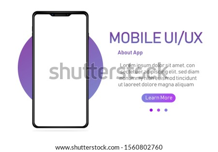 Smartphone with blank screen. Realistick cell phone can be a template for infographics or presentation of interface. Frame less smartphone. Vector Illustration UI/UX design #1560802760