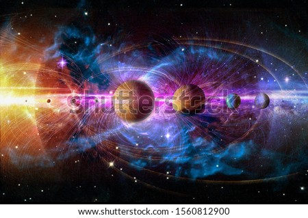 Solar system planets set. The Sun and planets in a row on universe stars and lines of gravity background. Elements of this image furnished by NASA.  #1560812900