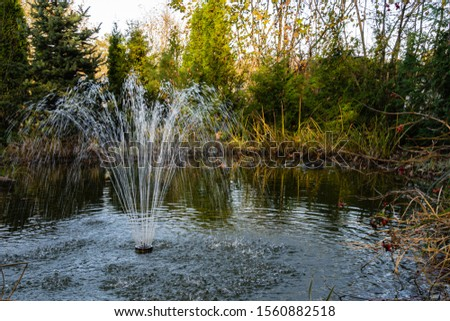 Magic pond with cascading fountain on emerald surface of water on blurry background of evergreens. Selective focus. Autumn landscape in evergreen garden. Nature concept for design. #1560882518