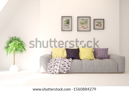 Stylish room in white color with sofa. Scandinavian interior design. 3D illustration #1560884279
