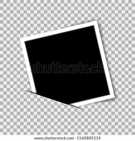 Realistic photo frame in mockup style on isolated background. Vector photo frame on transparent background. Empty photo card. Blank picture. Foto frame for photograph. vector illustration eps10 #1560889214