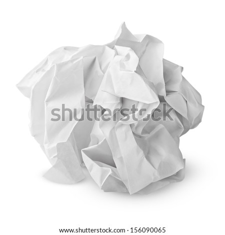 Crumpled paper ball isolated on white with clipping path Royalty-Free Stock Photo #156090065