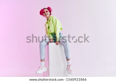 woman young girl with bright hair model