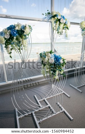 decoration of a wedding table, wedding presentation in a tent  #1560984452