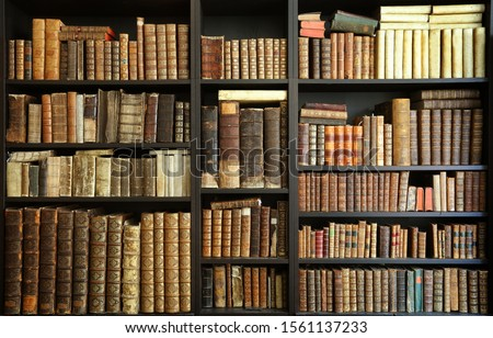 old books on wooden shelf #1561137233