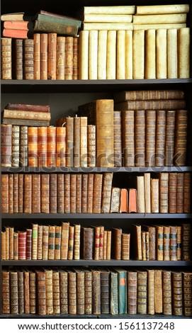 old books on wooden shelf #1561137248