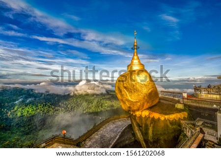Kyaiktiyo Pagoda, Golden Rock is one of the top destinations and a spectacular sight of Myanmar. #1561202068
