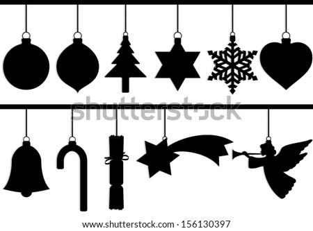 silhouette christmas tree decoration set/ vector illustration