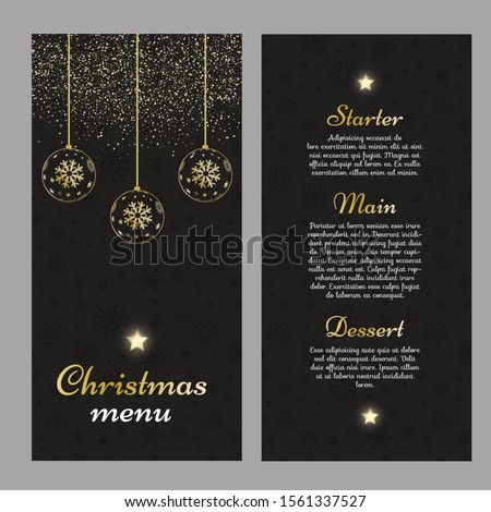 Christmas menu with an elegant gold and black design #1561337527