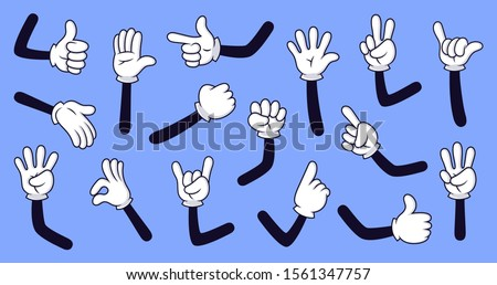 Cartoon gloved arms. Comic hands in gloves, retro doodle arms with different gestures vector isolated illustration icons set. Showing numbers, pointing with finger. Rock sign, thumb up, high five Royalty-Free Stock Photo #1561347757