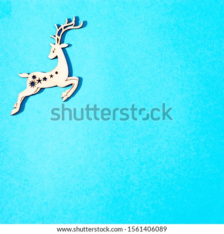 Top above high angle closeup overhead view photo of nice beautiful christmas decoration lying on blue craft paper background #1561406089