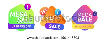 Set of modern abstract bright elements. Mega Sale text, colorful shapes, dynamical colored forms. Trendy design for advertising banners, retail posters, flyers, labels #1561443703