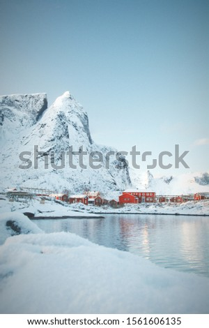 Winter in Lofoten.  Isolated islands above the Arctic Circle.