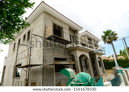 Construction of new homes. Cottages. Sale of private villas. frame of a private house, real estate investment, construction of a villa in Cyprus