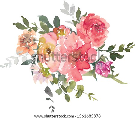 Pink Red Peony Rose Eucalyptus Watercolor Floral Arrangement Isolated on White Background